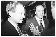 Steven Rattner, Steven Brill at Ben Bradlee, 'A Good LIfe' hosted by Toni and Jim Goodale, 25th September '95 New York © Copyright Photograph by Dafydd Jones 66 Stockwell Park Rd. London SW9 0DA Tel 020 7733 0108 www.dafjones.com