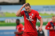 Goal scorer York City defender Dave Winfield  during the Sky Bet League 2 match between Mansfield Town and York City at the One Call Stadium, Mansfield, England on 28 December 2015. Photo by Simon Davies.
