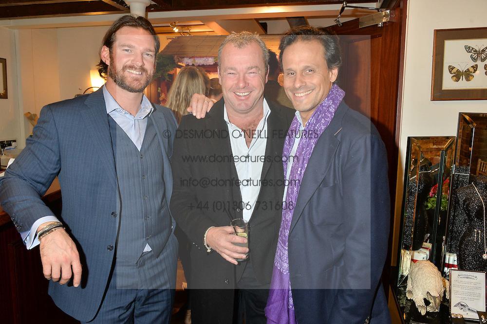 Left to right, LIAM BOTHAM, DAVID YARROW and ARUN NAYAR at a pre christmas party & shopping evening at Patrick Mavros, 104-106 Fulham Road, London on 26th November 2014.