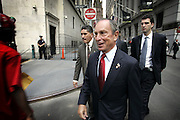 New York, NY, USA, August 2nd 2004: The New York Stock Exchange (NYSE) heightened their state of alert after the Deartment of Homeland Security warned about spesific terror threats against financial institutions in New York, New Jersey and Washington DC.<br /> <br /> New York City Major Michael Bloomberg arrives to ring the opening bell monday.<br /> <br /> Photo: Orjan F. Ellingvag  *** Local Caption ***