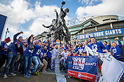 New York Giants fans gather outside Twickenham, during the International Series match between New York Giants and Los Angeles Rams at Twickenham, Richmond, United Kingdom on 23 October 2016. Photo by Jason Brown.
