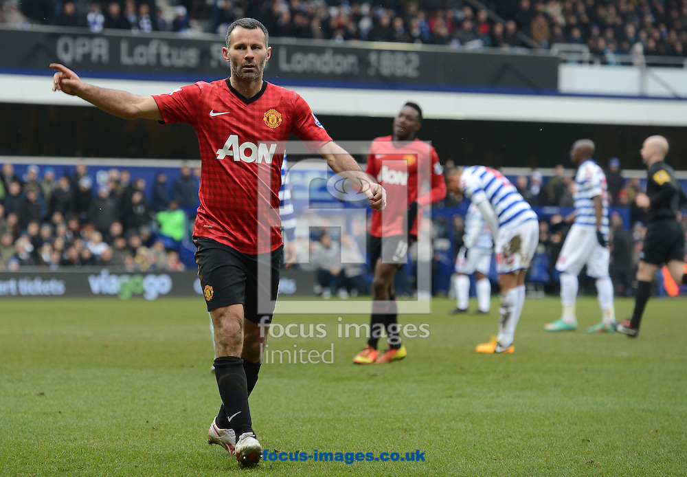 Picture by Andrew Timms/Focus Images Ltd +44 7917 236526.23/02/2013.Ryan Giggs of Manchester United celebrates scoring their second goal during the Barclays Premier League match against Queens Park Rangers at the Loftus Road Stadium, London.