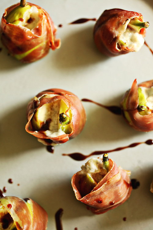 These Grilled Fresh Figs with Prosciutto and Blue Mousse make for a great summer appetizer.