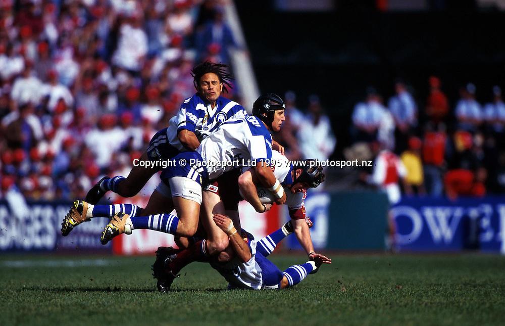 John Timu tackles Steve Menzies, Canterbury Bulldogs v Manly Sea Eagles, Winfield Cup, 1995. Photo: Andrew Cornaga/PHOTOSPORT