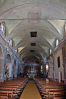 Inside the church in Loco in the Valle Onsernone in Ticino, Southern Switzerland.