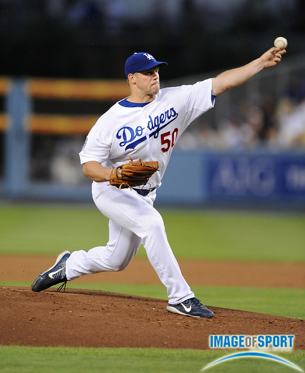 Jul 11, 2008; Los Angeles, CA, USA; Los Angeles Dodgers starter Eric Stults (50) pitches during 3-1 loss to the Florida Marlins at Dodger Stadium.