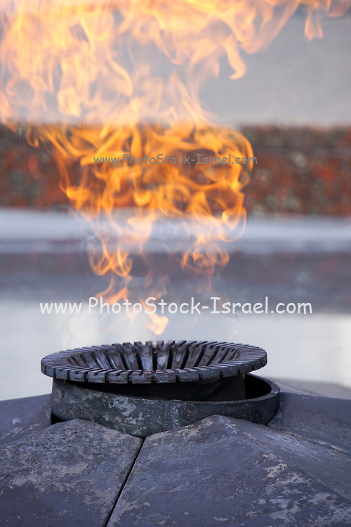 The Eternal Flame burning outside the the Museum of the Great Patriotic War, Park Pobedy (Victory Park), Moscow, Russia