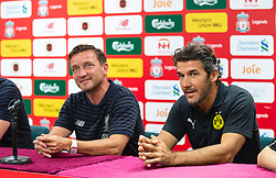 HONG KONG, CHINA - Thursday, June 6, 2019: Liverpool Legends' Vladimir Smicer (L) and Borussia Dortmund Legends' Karl-Heinz Riedle during a press conference at the Hong Kong Stadium ahead of an exhibition match between Liverpool FC and Borussia Dortmund. (Pic by Jayne Russell/Propaganda)
