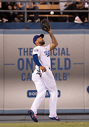 June 12, 2018 - Los Angeles, CA, U.S. - LOS ANGELES, CA - JUNE 12: Los Angeles Dodgers left fielder Matt Kemp (27) catches a fly ball during the game between the Texas Rangers and the Los Angeles Dodgers on June 12, 2018, at Dodger Stadium in Los Angeles, CA. (Photo by David Dennis/Icon Sportswire) (Credit Image: © David Dennis/Icon SMI via ZUMA Press)