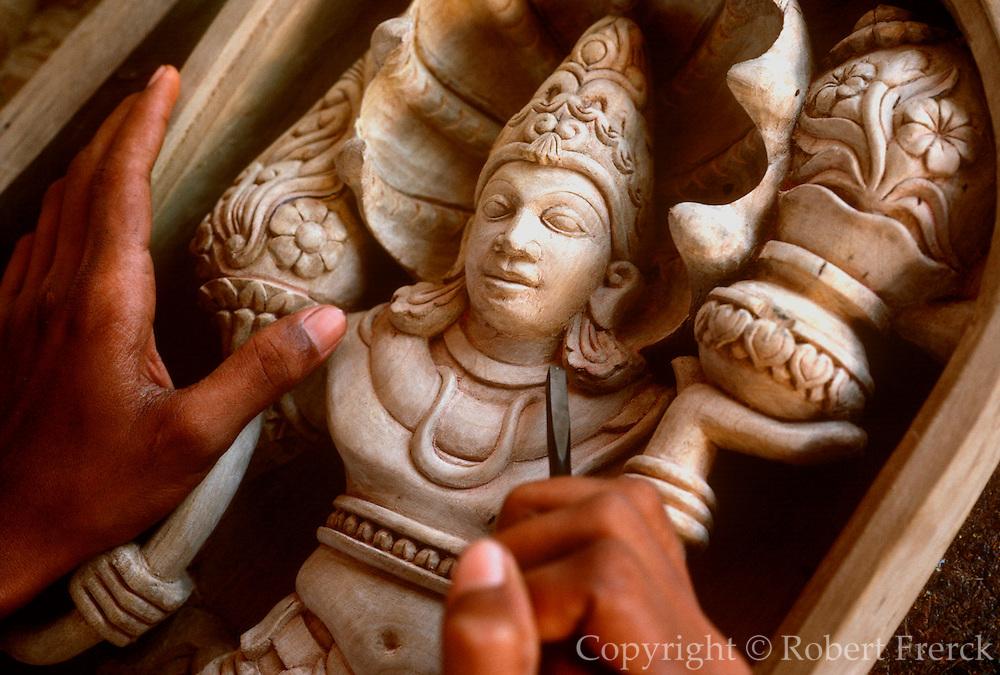 SRI LANKA, CRAFTS,  Ambalangoda, Hindu craftsman carving