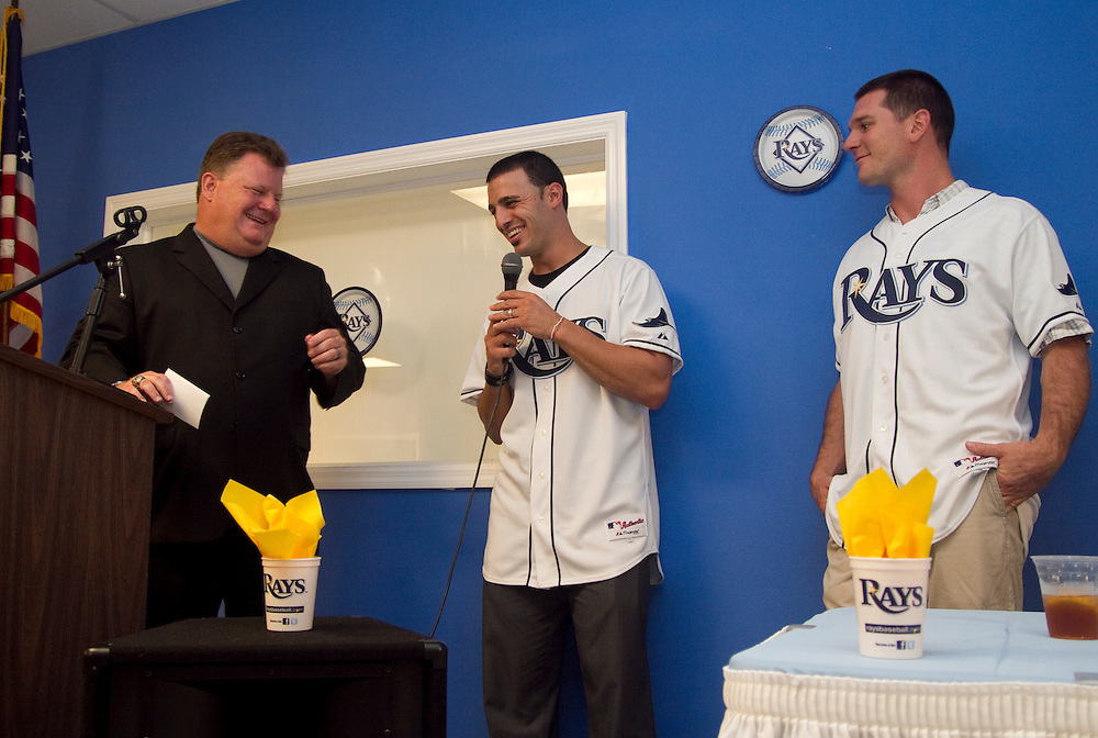 ADayWithTheRaysBoys&GirlsClub..Caption:(Friday 08/13/2010 Pinellas Park)Rays Radio Announcer Dave Wills jokes with Tampa Bay Rays secondbaseman Sean Rodriguez and catcher John Jaso during the Boys & Girls Clubs of The Suncoast event A Day With The Rays, held at the Boys & Girls Club of Pinellas Park...Summary:Boys & Girls Clubs of The Suncoast event A Day With The Rays..Photo by James Branaman