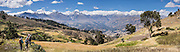 For a good view of the Cordillera Blanca and a good acclimatization outing, bus to Callan Punta (a 4225-meter pass) in the Cordillera Negra then hike 14 km (9 miles) down to Huaraz, in the Andes Mountains, Peru, South America. Below is Huaraz (population 120,000 in 2007), founded in 1574 in Callejon de Huaylas Valley. Huaraz is Peru's center of climbing, hiking, snowboarding and is also the main tourist center of the Ancash region. This panorama was stitched from 4 overlapping photos.