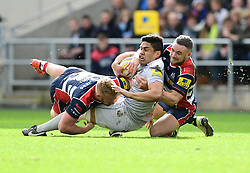 Ben Tapuai of Bath Rugby is tackled by Alby Mathewson of Bristol Rugby and Will Hurrell of Bristol Rugby  - Mandatory by-line: Joe Meredith/JMP - 26/02/2017 - RUGBY - Ashton Gate - Bristol, England - Bristol Rugby v Bath Rugby - Aviva Premiership