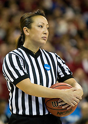 March 29, 2010; Sacramento, CA, USA; NCAA official Cameron Inouye during the second half of the game between the Stanford Cardinal and the Xavier Musketeers in the finals of the Sacramental regional in the 2010 NCAA womens basketball tournament at ARCO Arena. Stanford defeated Xavier 55-53.
