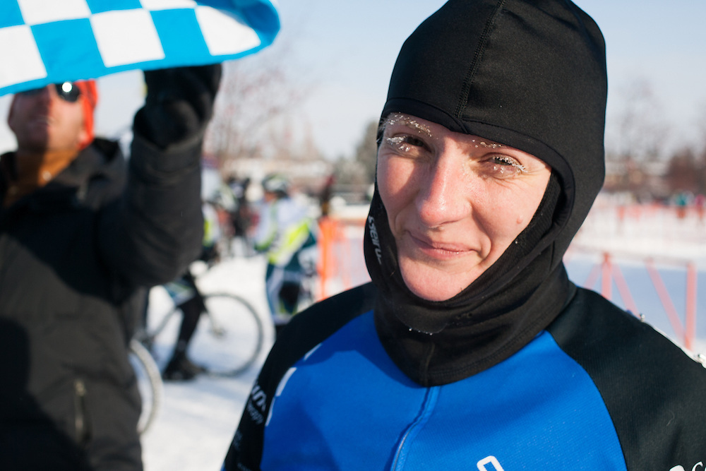 A very frozen Patti Wolfe (Trinity Bikes).  ©Brian Nelson