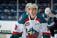 KELOWNA, CANADA - DECEMBER 29: Michael Farren #16 of the Kelowna Rockets warms up against the Kamloops Blazers  on December 29, 2018 at Prospera Place in Kelowna, British Columbia, Canada.  (Photo by Marissa Baecker/Shoot the Breeze)