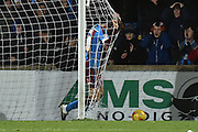 Charlie Goode of Scunthorpe United in dispare at missed goal during the Sky Bet League 1 match between Scunthorpe United and Sheffield Utd at Glanford Park, Scunthorpe, England on 19 December 2015. Photo by Ian Lyall.