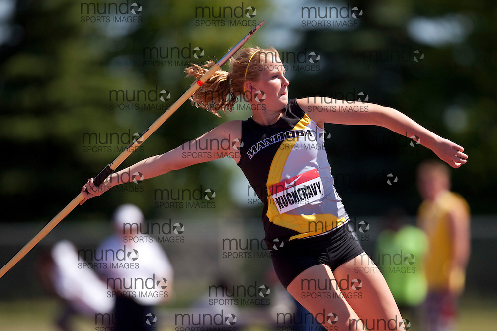 Winnipeg, Manitoba ---11-07-10--- Caila Kucheravy competes in the heptathlon javelin at the 2011 Canadian Junior National Track and Field Championships in Winnipeg, Manitoba,  July 10, 2011..GEOFF ROBINS/ Mundo Sport Images.