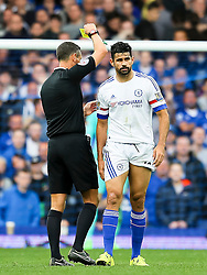 Diego Costa of Chelsea receives a yellow card - Mandatory byline: Matt McNulty/JMP - 07966386802 - 12/09/2015 - FOOTBALL - Goodison Park -Everton,England - Everton v Chelsea - Barclays Premier League