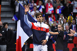 Pierre-Hugues Herbert (FRA) before double at the Davis Cup first round tie against Netherlands, in Albertville, halle Olympique, France on february, 3, 2018. Photo by Corinne Dubreuil/ABACAPRESS.COM