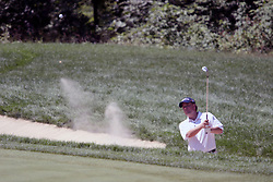 16 July 2006 Bubba Watson takes a shot from the sand on the right side of the 9th green. The John Deere Classic is played at TPC at Deere Run in Silvis Illinois, just outside of the Quad Cities