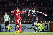 Leyton Orient forward Paul McCallum (10), Morecambe midfielder Peter Murphy (8) during the EFL Sky Bet League 2 match between Leyton Orient and Morecambe at the Matchroom Stadium, London, England on 7 February 2017. Photo by Sebastian Frej.