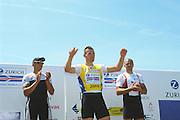 2002 FISA World Cup. Hazewinkel. BEL.       Friday  14/06/2002     .email images@Intersport-images.com.[Mandatory Credit: Peter Spurrier/Intersport Images]  .                                 /06/2002.Rowing. .Men's  single                                 Sculls Medals;  .Gold, GER M1X. Marcel HACKER..Silver Medalist  NOR M1X. Olaf TUFTE. .Bronze Medalist  CZE M1X Vaclav CHULUPA. Rowing, FISA WC.Hazenwinkel, BEL