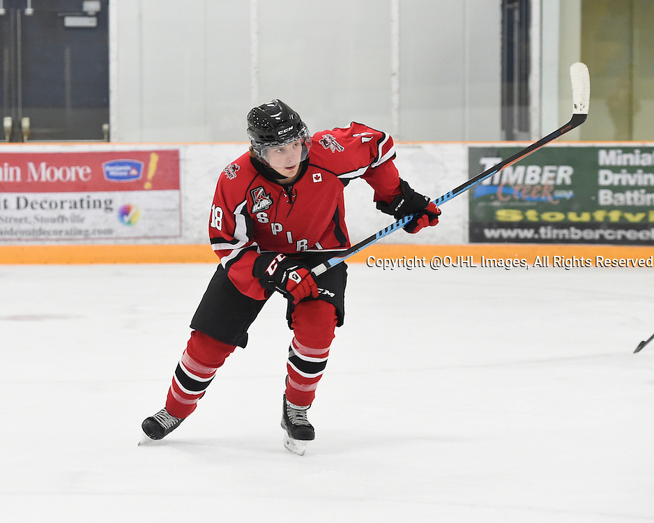 STOUFFVILLE, ON - Oct 12, 2015 : Ontario Junior Hockey League game action between Newmarket and Stouffville, Jackson Savery #18 of the Stouffville Spirit pursues the play during the first period.<br /> (Photo by Andy Corneau / OJHL Images)