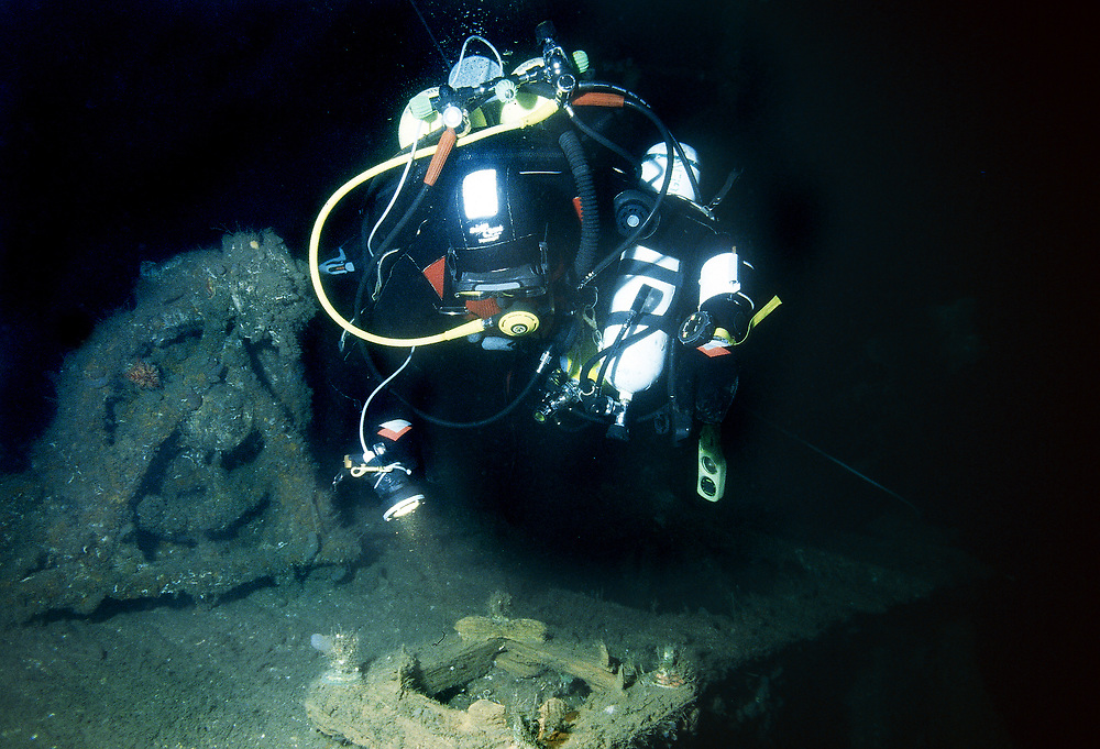 Diver on the bridge of D/S Sandeid. Location: Norway