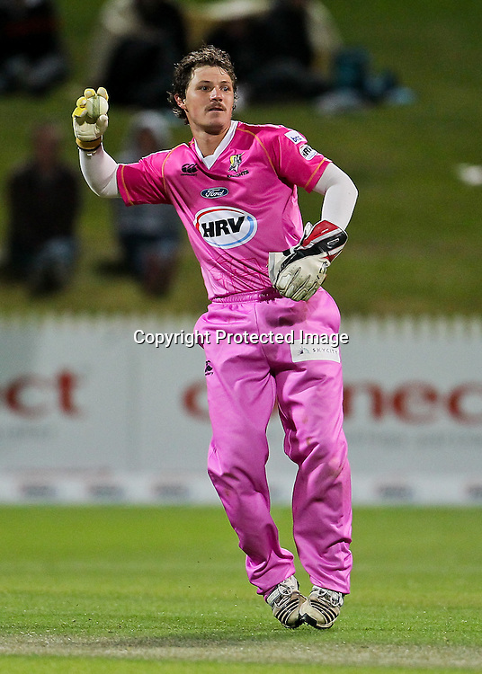 Northern Knight's wicket keeper BJ Watling during the HRV Cup - Northern Knights v Canterbury Wizards, Seddon Park, Hamilton.  30 November 2012.  Photo:  Bruce Lim / photosport.co.nz