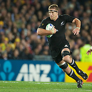 Brad Thorn, New Zealand, runs at David Pocock, Australia,  during the New Zealand V Australia Semi Final match at the IRB Rugby World Cup tournament, Eden Park, Auckland, New Zealand, 16th October 2011. Photo Tim Clayton...
