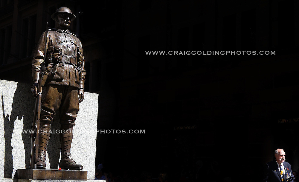 A Digger stands near the Cenotaph at the Rememberance Day Service held at  Martin Place on November 11, 2012 in Sydney, Australia. Rememberance Day is observed to recall the end of World War I hostilities. A one minute silence is called at 11.00am on the 11th day of the 11th month to remembers the members of armed forces who were killed at battle. <br /> Commissioned by GETTY IMAGES