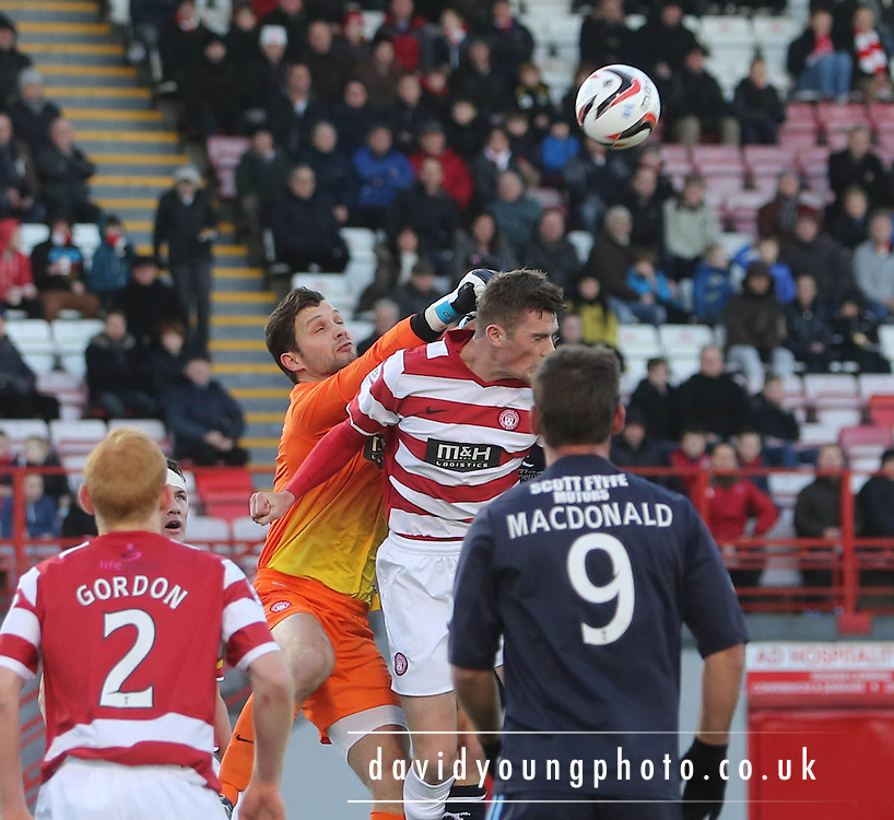 Kevin Cuthbert punches clear  - Hamilton Academical v Dundee, SPFL Championship at New Douglas Park<br /> <br />  - &copy; David Young - www.davidyoungphoto.co.uk - email: davidyoungphoto@gmail.com