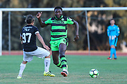 Forest Green Rovers Manny Monthe(6) passes the ball during the Pre-Season Friendly match between SC Farense and Forest Green Rovers at Estadio Municipal de Albufeira, Albufeira, Portugal on 25 July 2017. Photo by Shane Healey.