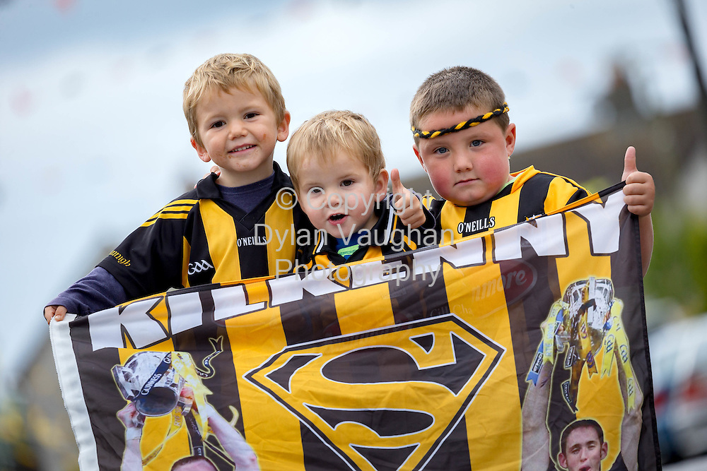 03-9-15<br /> <br /> Evan Quirke Duggan aged 5, Noah Quirke Duggan aged 2, Rhys Duggan Quirke aged 6 from Kilkenny pictured ahead of this weekends All Ireland Senior Hurling Final between Kilkenny and Galway.<br /> Picture Dylan Vaughan.