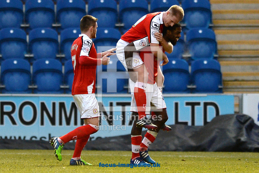 Anthony Grant of Crewe Alexandra (right) celebrates scoring his sides third goal to make the scoreline 3-1 with Alan Tate of Crewe Alexandra during the Sky Bet League 1 match between Colchester United and Crewe Alexandra at the Weston Homes Community Stadium, Colchester<br /> Picture by Richard Blaxall/Focus Images Ltd +44 7853 364624<br /> 07/02/2015