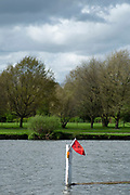 Henley on Thames. United Kingdom.   2018 Henley Royal Regatta, Henley Reach. <br />   <br /> Course Construction: Red Flag and Light make a crossing point on the course.<br /> <br /> Wednesday  25/04/2018<br /> <br /> [Mandatory Credit: Peter SPURRIER:Intersport Images]<br /> <br /> Leica Camera AG  LEICA M (Typ 262)  f2.8  1/2000sec  mm  27.3MB