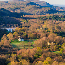 East Granby, Connecticut. View from  Peak Mountain.  Metacomet Trail.  New England National Scenic Trail.  Spring. New England Trail