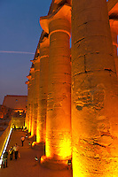Illuminated columns, Luxor Temple, Luxor, Egypt