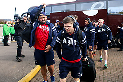 Harry Randall and John Afoa of Bristol Bears arrive at Northampton Saints - Mandatory by-line: Robbie Stephenson/JMP - 09/03/2019 - RUGBY - Franklin's Gardens - Northampton, England - Northampton Saints v Bristol Bears - Gallagher Premiership Rugby