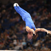Steven Legendre, Norman, Oklahoma, in action on the Parallel bars during the Senior Men Competition at The 2013 P&G Gymnastics Championships, USA Gymnastics' National Championships at the XL, Centre, Hartford, Connecticut, USA. 16th August 2013. Photo Tim Clayton