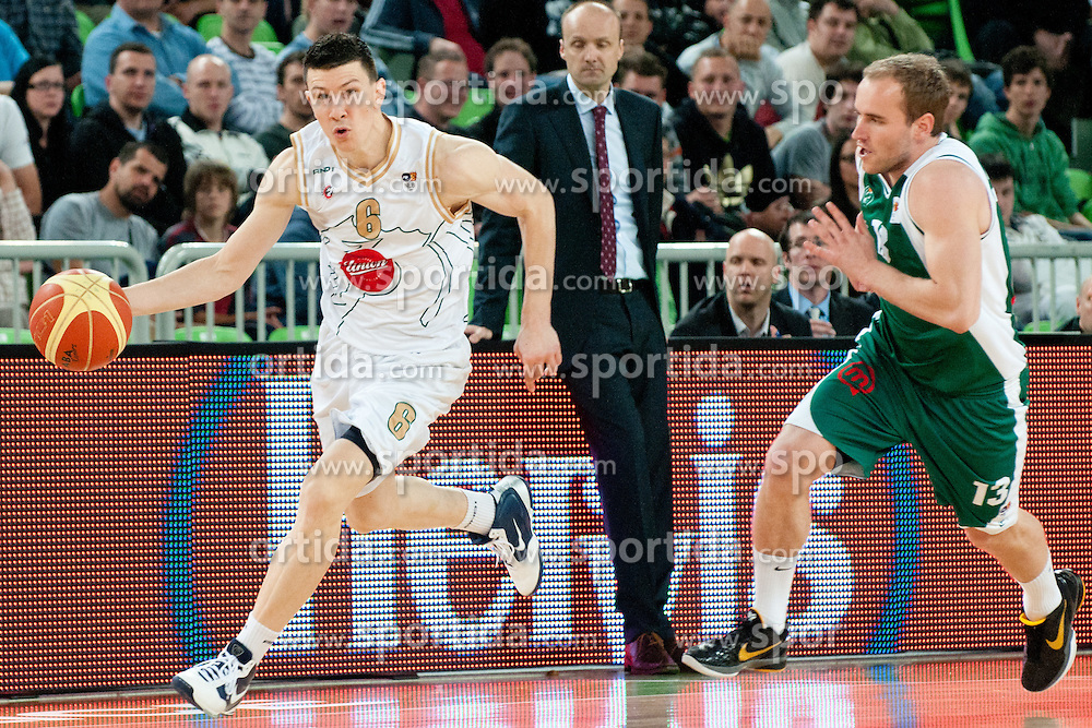 Vlado Ilievski of Union Olimpija vs Bojan Krivec of Krka during second semi-final match of Basketball NLB League at Final four tournament between KK Union Olimpija and Krka (SLO), on April 19, 2011 at SRC Stozice, Ljubljana, Slovenia. (Photo By Matic Klansek Velej / Sportida.com)