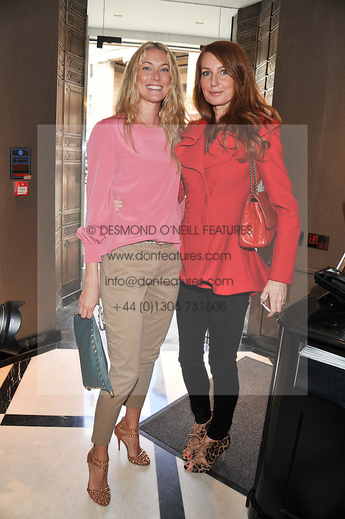 Left to right, HEIDI BISHOP and ANGELA RADCLIFFE at a lunch to launch Cash & Rocket on Tour 2013 hosted by Julia Brangstrup in aid of Orpan Aid and Shine on Sierrra Leone held at Banca, 40 North Audley Street, London on 29th April 2013.
