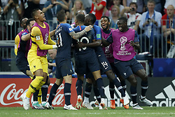 (L-R) France goalkeeper Alphonse Areola, Lucas Hernandez of France, Kylian Mbappe of France, Blaise Matuidi of France, Thomas Lemar of France, Presnel Kimpembe of France during the 2018 FIFA World Cup Russia Final match between France and Croatia at the Luzhniki Stadium on July 15, 2018 in Moscow, Russia