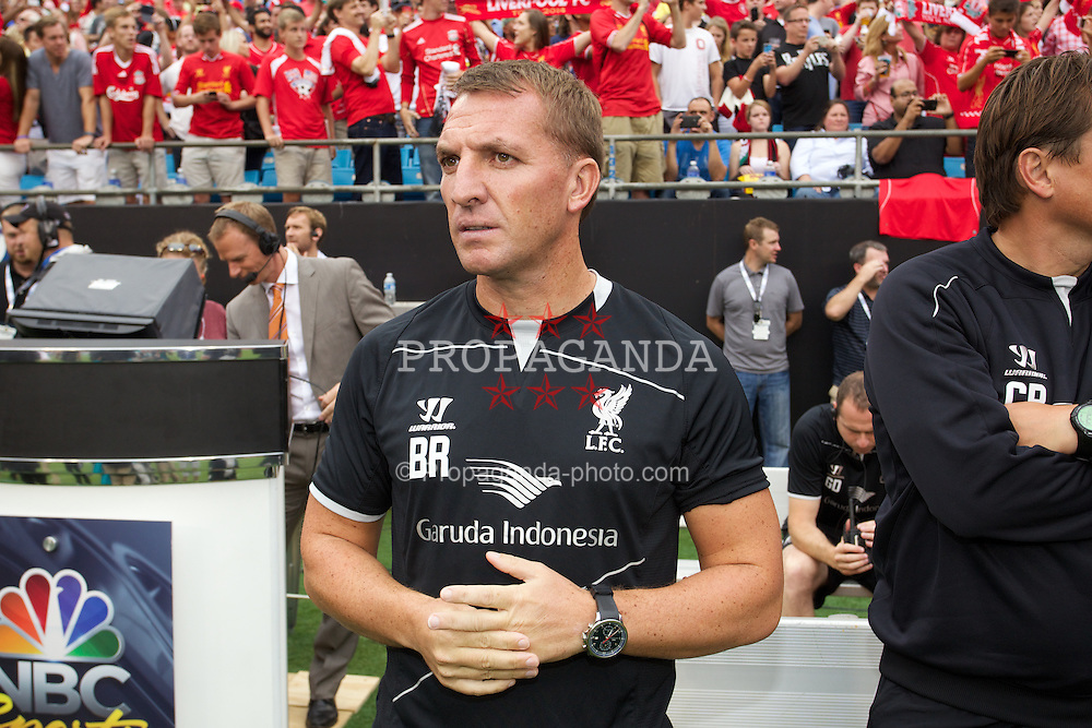 CHARLOTTE, USA - Saturday, August 2, 2014: Liverpool's manager Brendan Rodgers before the International Champions Cup Group B match against AC Milan at the Bank of America Stadium on day thirteen of the club's USA Tour. (Pic by Mark Davison/Propaganda)