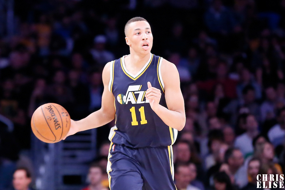 19 March 2015: Utah Jazz guard Dante Exum (11) brings the ball up court during the Utah Jazz 80-73 victory over the Los Angeles Lakers, at the Staples Center, Los Angeles, California, USA.