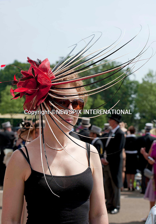 HAT FASHIONS<br /> at the Race Meeting at Royal Ascot 2013, Ascot Racecourse, Ascot_19/06/2013<br /> Mandatory Credit Photo: &copy;Robert Piper/NEWSPIX INTERNATIONAL<br /> <br /> **ALL FEES PAYABLE TO: &quot;NEWSPIX INTERNATIONAL&quot;**<br /> <br /> IMMEDIATE CONFIRMATION OF USAGE REQUIRED:<br /> Newspix International, 31 Chinnery Hill, Bishop's Stortford, ENGLAND CM23 3PS<br /> Tel:+441279 324672  ; Fax: +441279656877<br /> Mobile:  07775681153<br /> e-mail: info@newspixinternational.co.uk