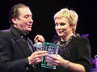 Jools Holland and Jennifer Saunders at the 2011 MITs Award. Held at the Grosvenor Hotel London in aid of Nordoff Robbins and the BRIT School. Monday, Nov.7, 2011