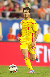 CHARLOTTE, USA - Saturday, August 2, 2014: Liverpool's 'Suso' Jesus Joaquin Fernandez Saenz De La Torre in action against AC Milan during the International Champions Cup Group B match at the Bank of America Stadium on day thirteen of the club's USA Tour. (Pic by David Rawcliffe/Propaganda)