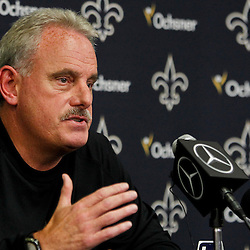 July 24, 2012; Metairie, LA, USA; New Orleans Saints assistant head coach and linebackers coach Joe Vitt addresses the media prior to the start of training camp at the team's practice facility. Mandatory Credit: Derick E. Hingle-US PRESSWIRE